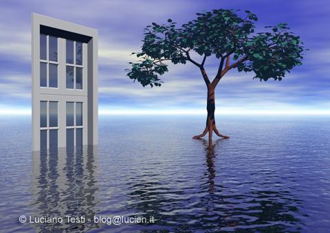 Albero con porta su acqua